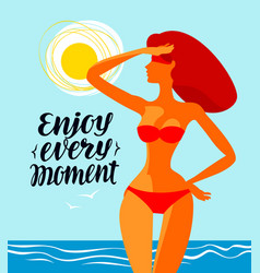 Enjoy every moment banner travel beach vector