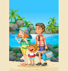 Family trip with parents and kid on beach vector