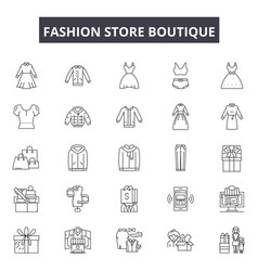 Fashion store boutique line icons signs vector