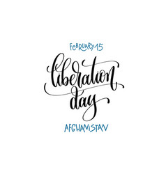 February - liberation day - afghanistan hand vector