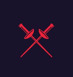 Fencing swords icon crossed foils vector