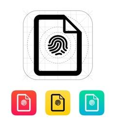 Fingerprint on file icon vector