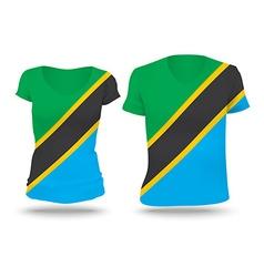 Flag shirt design of Tanzania vector
