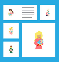 Flat icon mam set of child kid woman and other vector