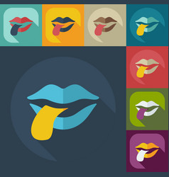 Flat modern design with shadow icons lips vector