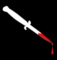 Flick knife with blood vector