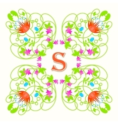 Floral monogram with letter s on white green vector