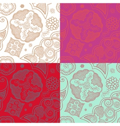 four indian henna ornament seamless vector image