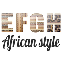 Four letters alphabet in african style vector
