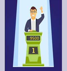 game show player - cartoon people character vector image