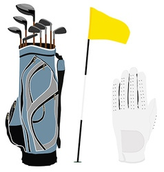 Golf clubs bag flag and white glove vector