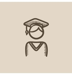 Graduate sketch icon vector image