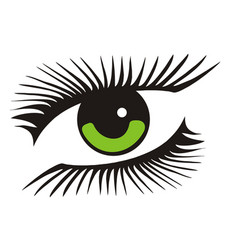 Green eye with long lashes vector