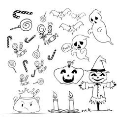 Halloween doodle set candy scarecrow pumpkins vector image