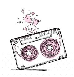Hand drawn love cassette tape vector