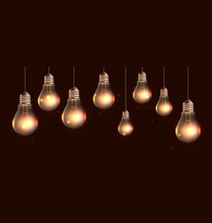 hanging realistic light bulbs with light and spa vector image