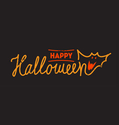 happy halloween lettering with smiling bat vector image