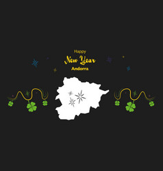 Happy new year theme with map of andorra vector