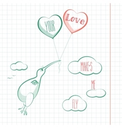 Happy valentines day card with kivi bird baloons vector image