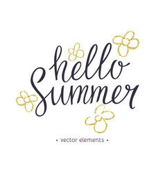 hello summer modern hand drawn lettering vector image