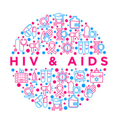 Hiv and aids concept in circle vector