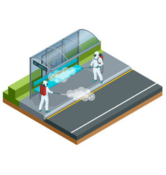 Isometric man in a white suit disinfects bus stop vector