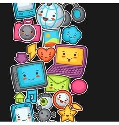 Kawaii gadgets social network seamless pattern vector
