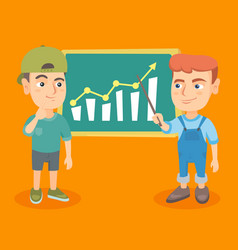 Kids analyzing business chart on board vector