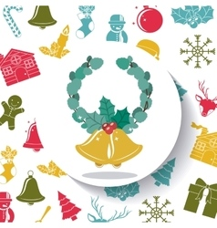 Leaves crown and bell of Merry Christmas design vector image