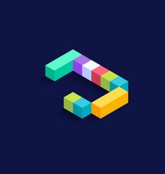 Letter j isometric colorful cubes 3d design vector