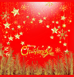 luxury gold glitter merry christmas and new year vector image