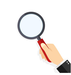 Magnify glass in hand hand hold loupe vector