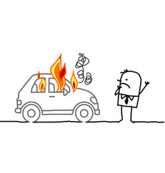 Man watching a burning car vector