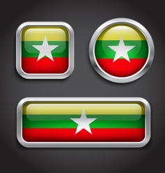 Myanmar flag glass buttons vector