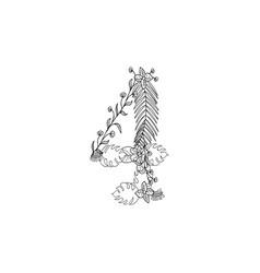 Number 4 floral ornament vector