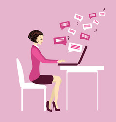 office worker or business woman working on laptop vector image