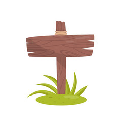 old wooden road sign standing on the grass vector image