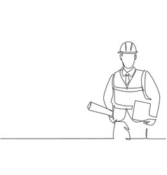 One single line drawing young architect vector