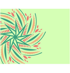 ornament on light green background vector image