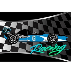 Race car poster on checkered flag with script vector image