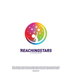 Reaching stars logo design concept child dream vector