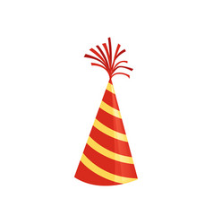 Red cone hat with yellow stripes colorful vector