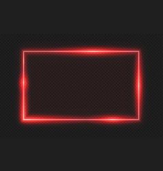 red neon frame lighting banner on transparent vector image