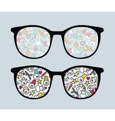 Retro sunglasses with snowman reflection vector