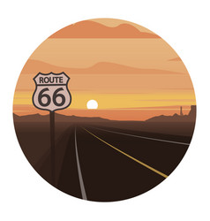 Route 66 scene round icon vector