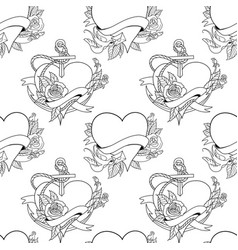 Seamless pattern old school tattoo style hearts vector