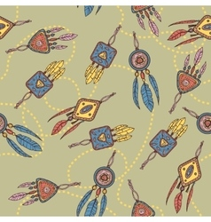 Seamless pattern with dreamcatcher feathers and vector image