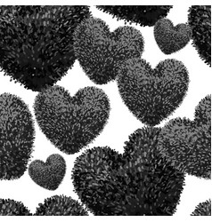 Seamless pattern with fluffy soft heart vector