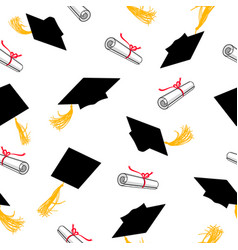 seamless pattern with graduation caps and scrolls vector image