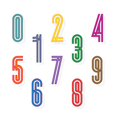 set colorful numbers formed by parallel lines vector image